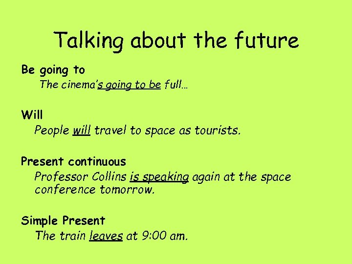 Talking about the future Be going to The cinema's going to be full… Will