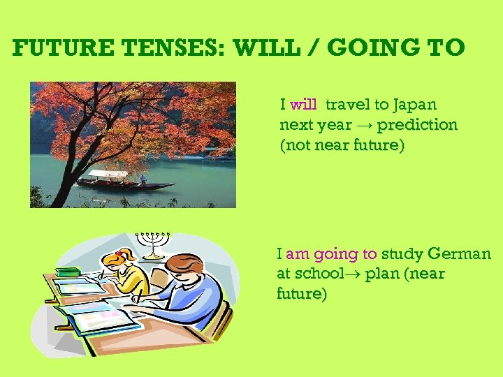 FUTURE TENSES: WILL / GOING TO I will travel to Japan next year →