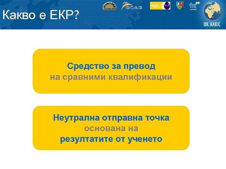 Какво е ЕКР? Средство за превод на сравними квалификации Неутрална отправна точка основана на