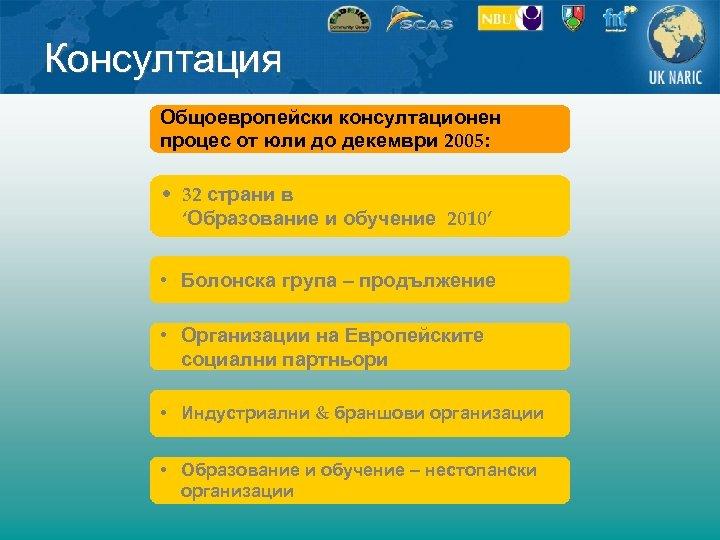 Консултация Общоевропейски консултационен процес от юли до декември 2005: • 32 страни в 'Образование