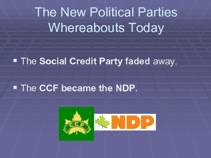 The New Political Parties Whereabouts Today § The Social Credit Party faded away. §
