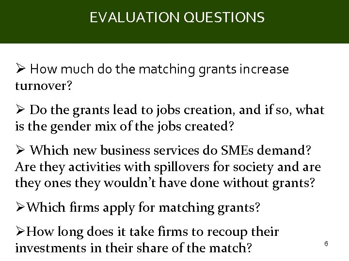 EVALUATION QUESTIONS Title Ø How much do the matching grants increase turnover? Ø Do