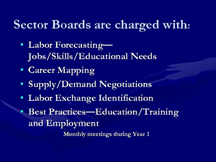 Sector Boards are charged with: • Labor Forecasting— Jobs/Skills/Educational Needs • Career Mapping •