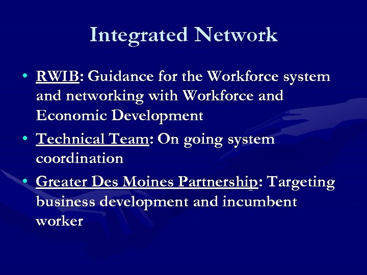 Integrated Network • RWIB: Guidance for the Workforce system and networking with Workforce and