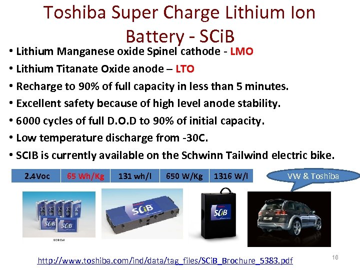 Toshiba Super Charge Lithium Ion Battery - SCi. B • Lithium Manganese oxide Spinel