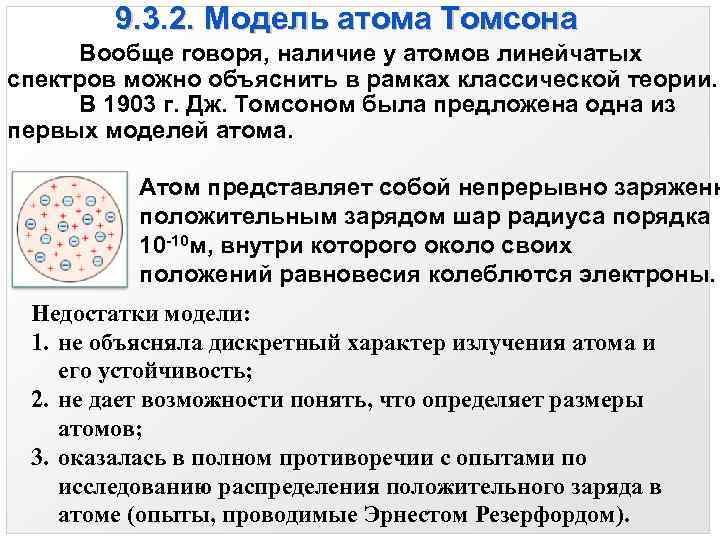 9. 3. 2. Модель атома Томсона Вообще говоря, наличие у атомов линейчатых спектров можно
