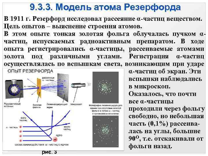 9. 3. 3. Модель атома Резерфорда В 1911 г. Резерфорд исследовал рассеяние α-частиц веществом.