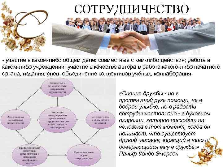 СОТРУДНИЧЕСТВО участие в каком либо общем деле; совместные с кем либо действия; работа в