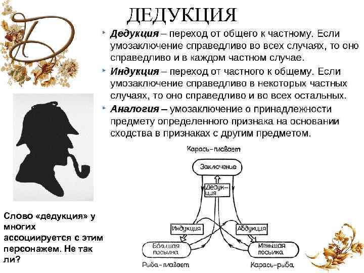 ДЕДУКЦИЯ Слово «дедукция» у многих ассоциируется с этим персонажем. Не так ли?