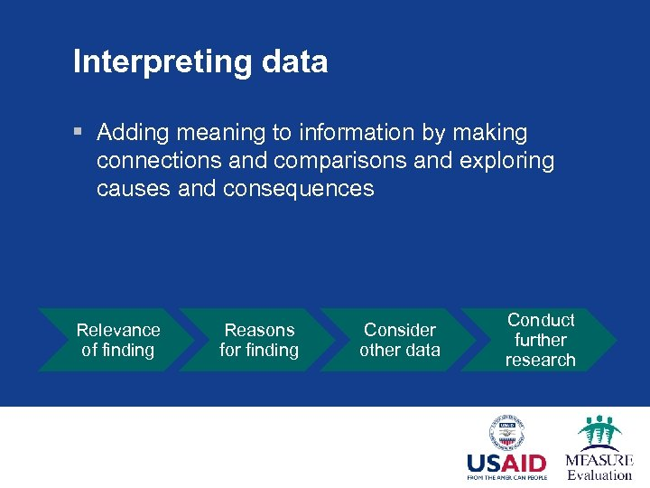 Interpreting data § Adding meaning to information by making connections and comparisons and exploring