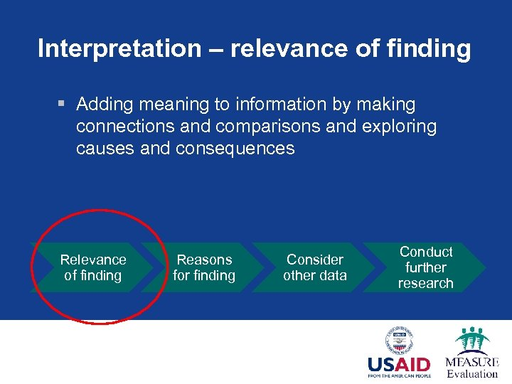 Interpretation – relevance of finding § Adding meaning to information by making connections and