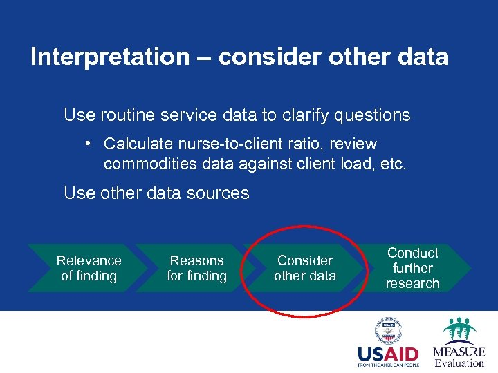 Interpretation – consider other data Use routine service data to clarify questions • Calculate