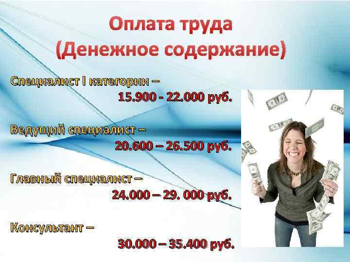 Оплата труда (Денежное содержание) Специалист I категории – 15. 900 - 22. 000 руб.