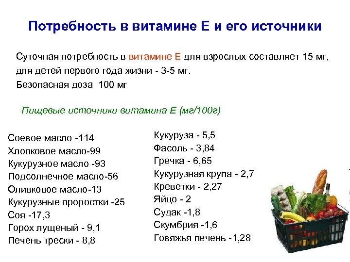 Потребность в витамине Е и его источники Суточная потребность в витамине Е для взрослых