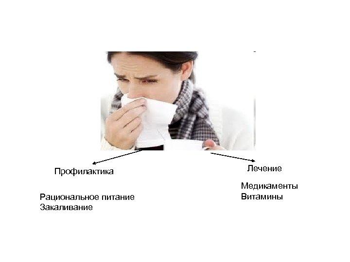 Профилактика Рациональное питание Закаливание Лечение Медикаменты Витамины