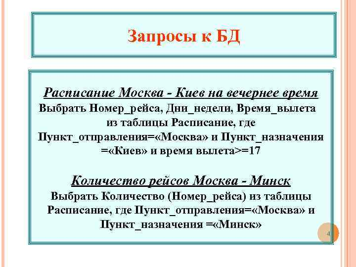 Запросы к БД Расписание Москва - Киев на вечернее время Выбрать Номер_рейса, Дни_недели, Время_вылета