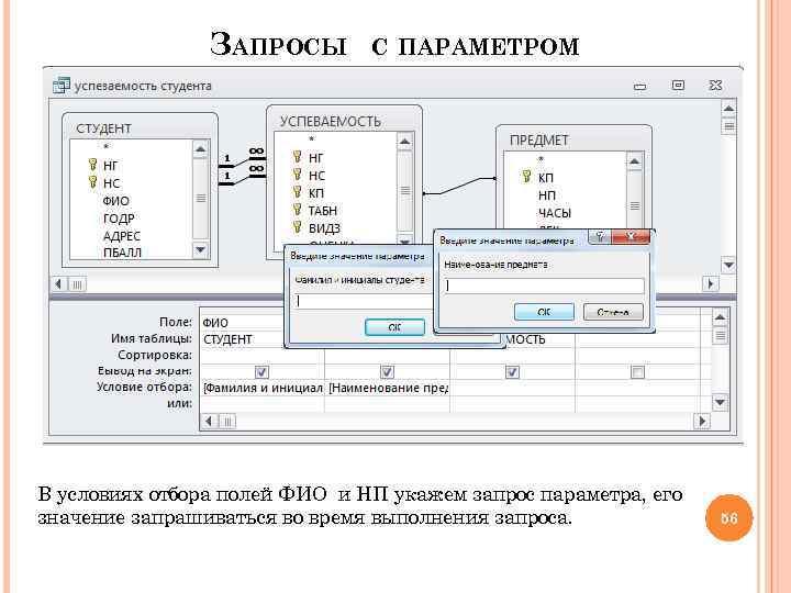 ЗАПРОСЫ С ПАРАМЕТРОМ В условиях отбора полей ФИО и НП укажем запрос параметра, его