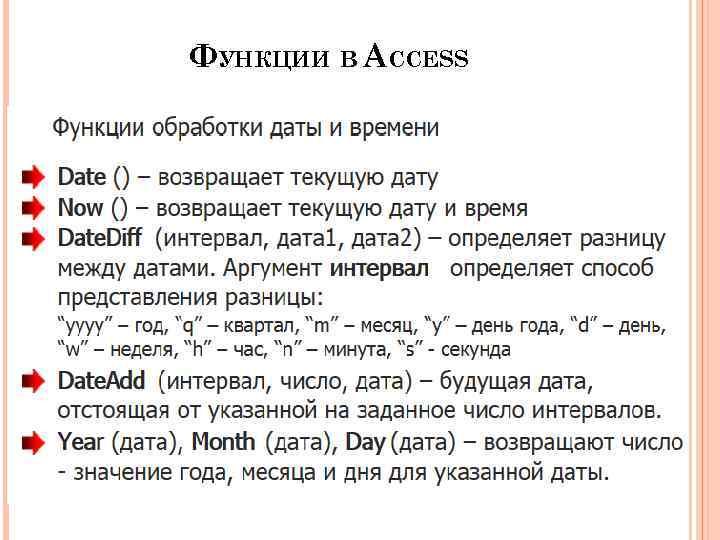 ФУНКЦИИ В ACCESS 64
