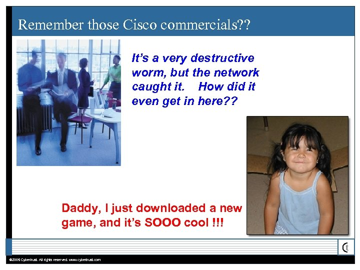 Remember those Cisco commercials? ? It's a very destructive worm, but the network caught