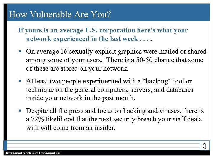 How Vulnerable Are You? If yours is an average U. S. corporation here's what
