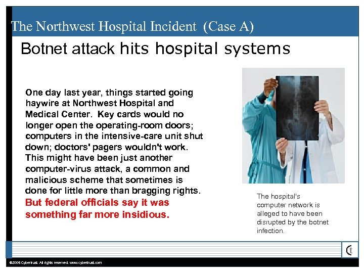 The Northwest Hospital Incident (Case A) Botnet attack hits hospital systems One day last