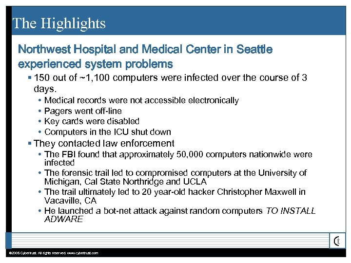 The Highlights Northwest Hospital and Medical Center in Seattle experienced system problems § 150