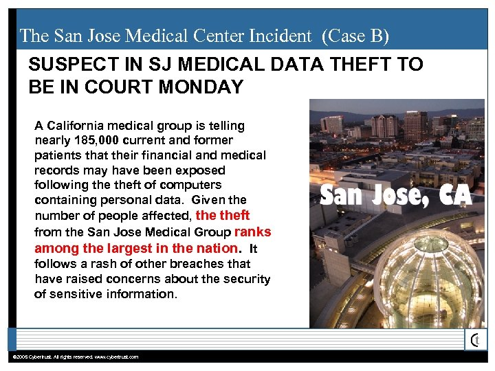 The San Jose Medical Center Incident (Case B) SUSPECT IN SJ MEDICAL DATA THEFT