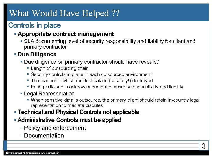 What Would Have Helped ? ? Controls in place § Appropriate contract management •