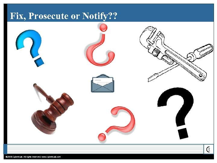 Fix, Prosecute or Notify? ? © 2005 Cybertrust. All rights reserved. www. cybertrust. com