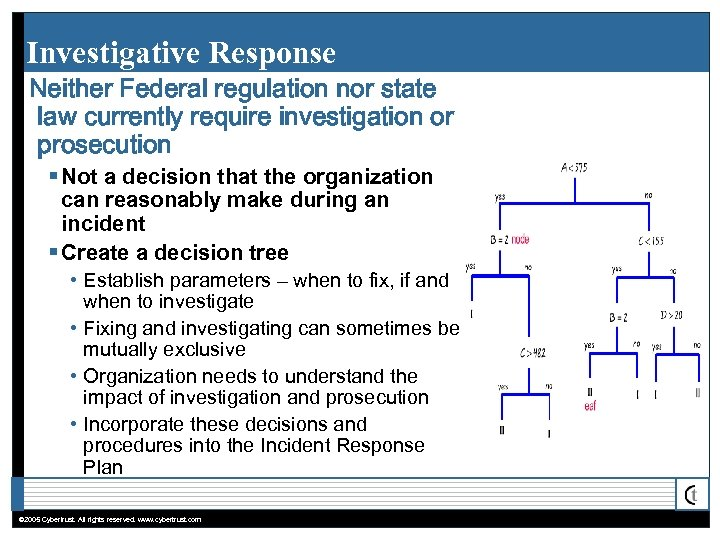 Investigative Response Neither Federal regulation nor state law currently require investigation or prosecution §