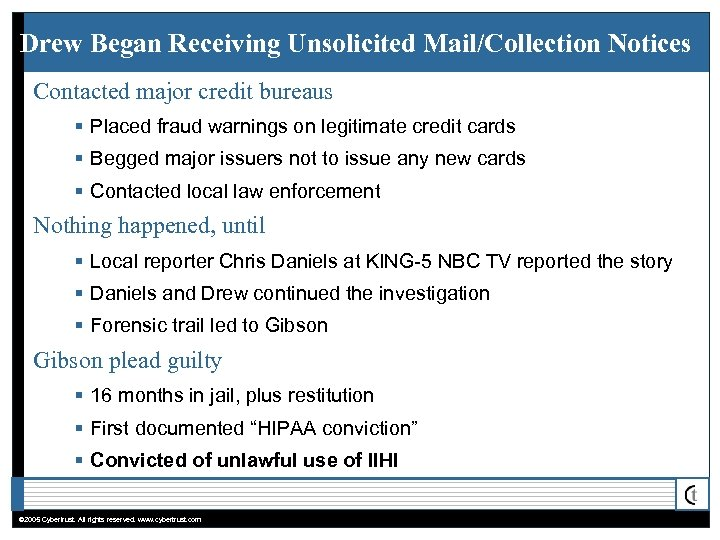 Drew Began Receiving Unsolicited Mail/Collection Notices Contacted major credit bureaus § Placed fraud warnings