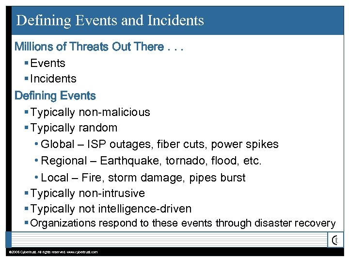 Defining Events and Incidents Millions of Threats Out There. . . § Events §