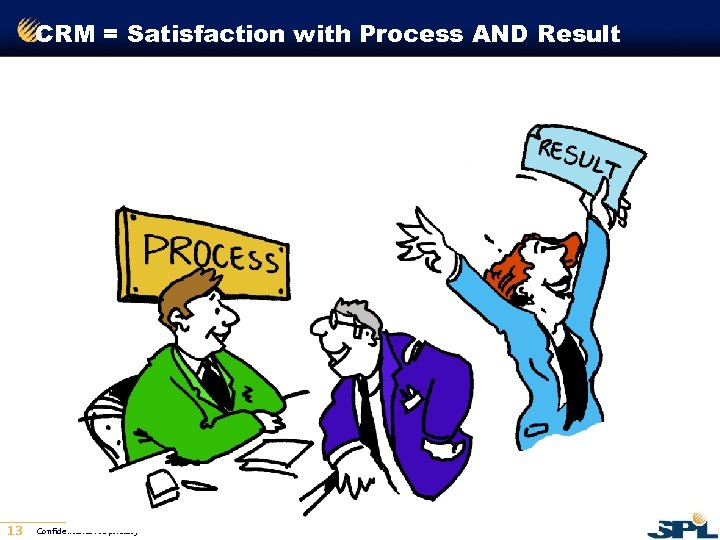 CRM = Satisfaction with Process AND Result 13 Confidential & Proprietary