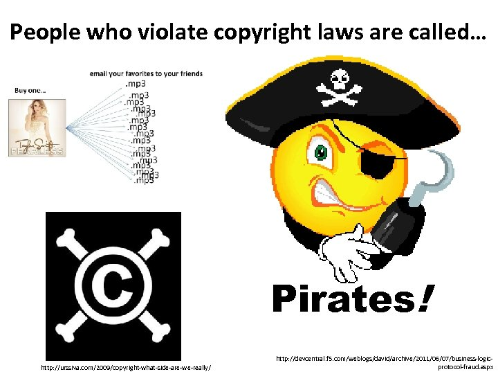People who violate copyright laws are called… Pirates! http: //urssiva. com/2009/copyright-what-side-are-we-really/ http: //devcentral. f