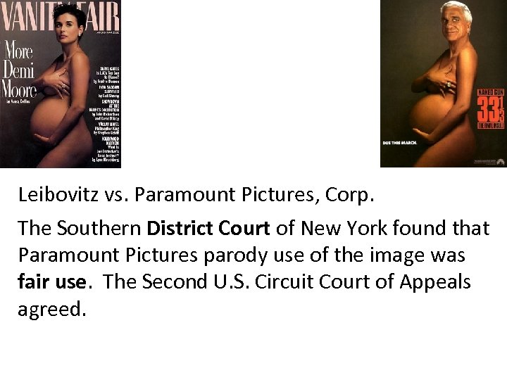 Leibovitz vs. Paramount Pictures, Corp. The Southern District Court of New York found that
