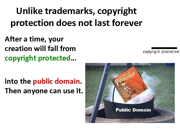 Unlike trademarks, copyright protection does not last forever After a time, your creation will