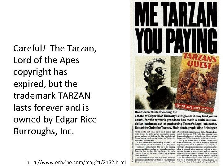 Careful! The Tarzan, Lord of the Apes copyright has expired, but the trademark TARZAN