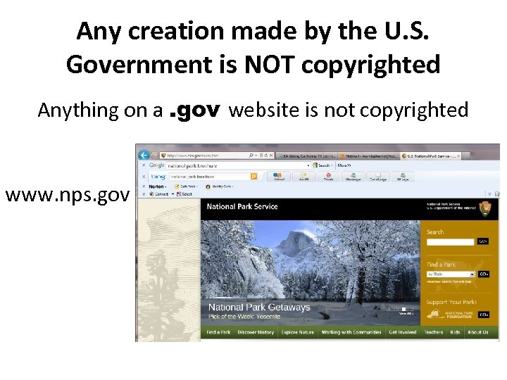 Any creation made by the U. S. Government is NOT copyrighted Anything on a.