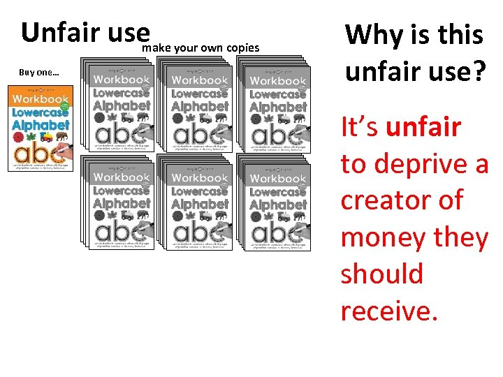 Unfair use your own copies make Buy one… Why is this unfair use? It's