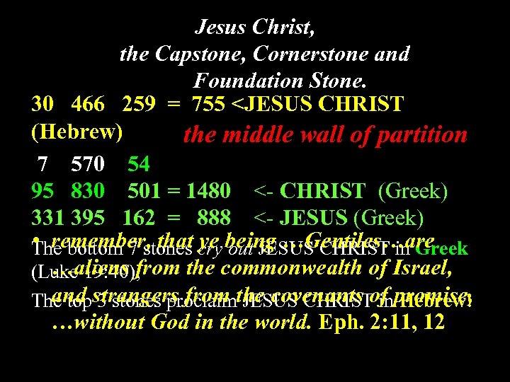 Jesus Christ, the Capstone, Cornerstone and Foundation Stone. 30 466 259 = 755 <JESUS