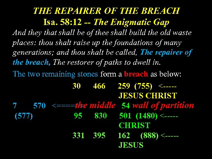 THE REPAIRER OF THE BREACH Isa. 58: 12 -- The Enigmatic Gap And they
