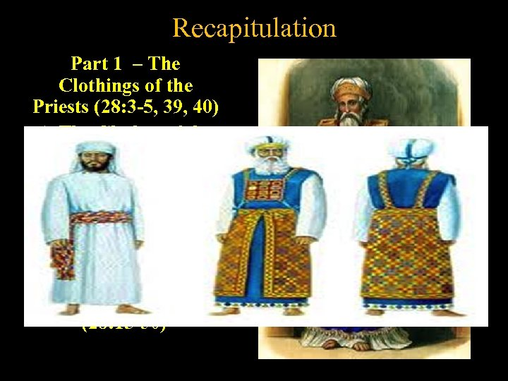 Recapitulation Part 1 – The Clothings of the Priests (28: 3 -5, 39, 40)
