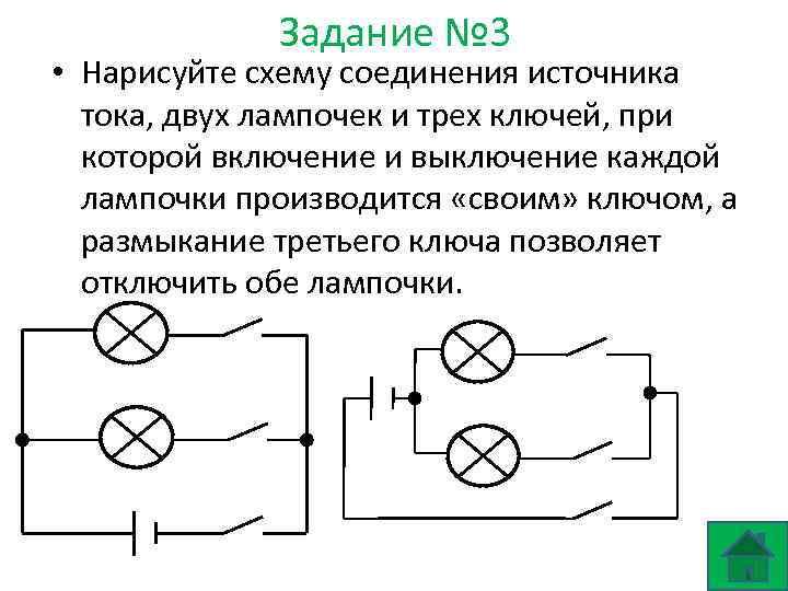 Задание № 3 • Нарисуйте схему соединения источника тока, двух лампочек и трех ключей,