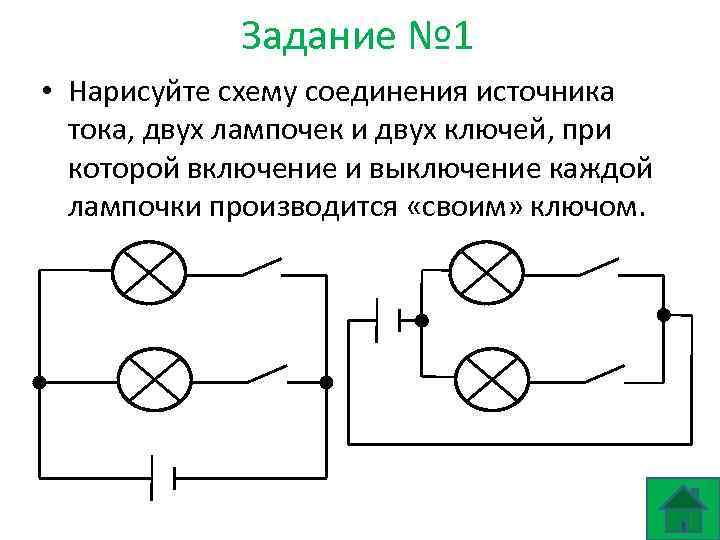 Задание № 1 • Нарисуйте схему соединения источника тока, двух лампочек и двух ключей,