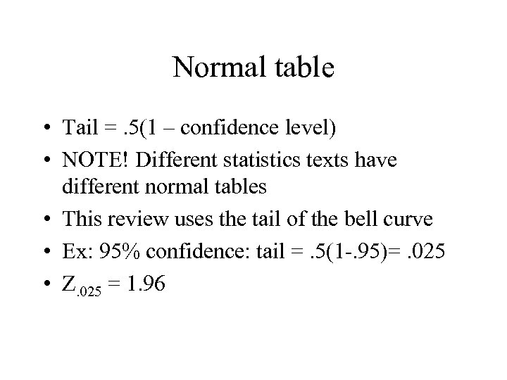 Normal table • Tail =. 5(1 – confidence level) • NOTE! Different statistics texts