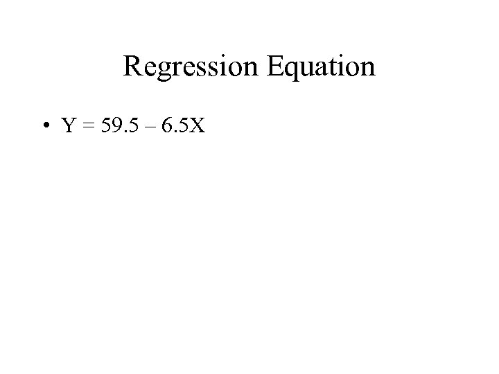 Regression Equation • Y = 59. 5 – 6. 5 X