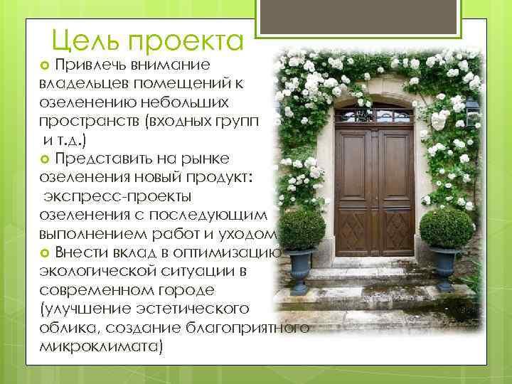Цель проекта Привлечь внимание владельцев помещений к озеленению небольших пространств (входных групп и т.