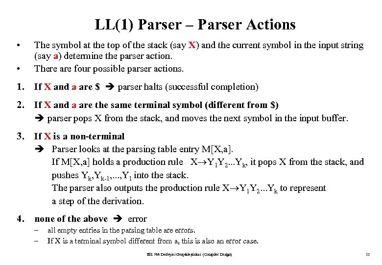 LL(1) Parser – Parser Actions • • The symbol at the top of the