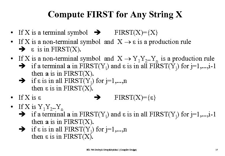 Compute FIRST for Any String X • If X is a terminal symbol FIRST(X)={X}
