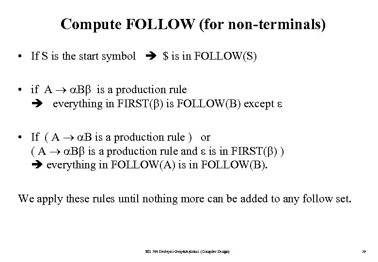 Compute FOLLOW (for non-terminals) • If S is the start symbol $ is in